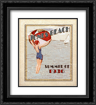 Sally ray Cairns - Jones Beach 2x Matted 20x24 Black Ornate Framed Art Print by Sally Ray Cairns