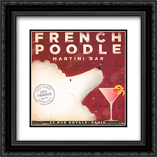 French Poodle 2x Matted 16x16 Black Ornate Framed Art Print by Stephen Fowler
