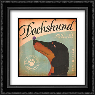 Dachshund Wine 2x Matted 16x16 Black Ornate Framed Art Print by Stephen Fowler