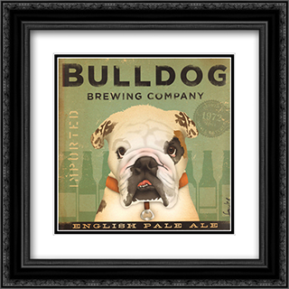 Bulldog Brewing 2x Matted 16x16 Black Ornate Framed Art Print by Stephen Fowler