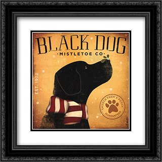 Black Dog Mistletoe 2x Matted 16x16 Black Ornate Framed Art Print by Stephen Fowler