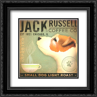 Jack Russell Coffee Co 2x Matted 16x16 Black Ornate Framed Art Print by Stephen Fowler