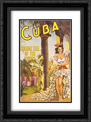 Cuba Holiday Isle of the Tropics 2x Matted 20x24 Black Ornate Framed Art Print