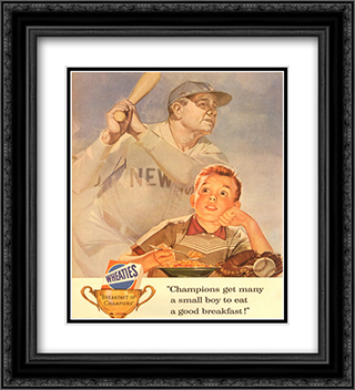 Wheaties - Boy Eating Cereal 2x Matted 20x24 Black Ornate Framed Art Print