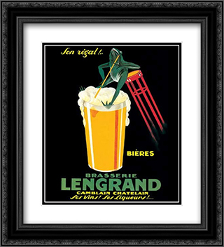 Brasserie Lengrand 2x Matted 20x24 Black Ornate Framed Art Print