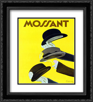 Chapeau Mossant 2x Matted 20x24 Black Ornate Framed Art Print by Leonetto Cappiello