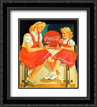 Coca-Cola Young Girls 2x Matted 20x24 Black Ornate Framed Art Print