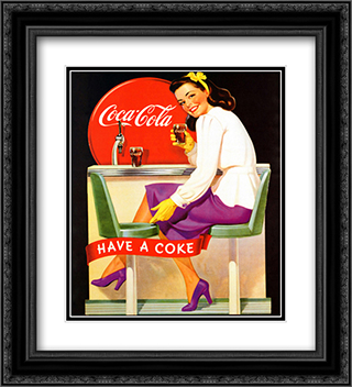 Coca-Cola Lady in Purple 2x Matted 20x24 Black Ornate Framed Art Print