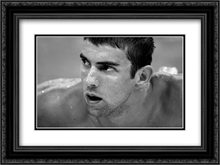 Michael Phelps: Black and White Portrait 2x Matted 22x17 Black Ornate Framed Art Print