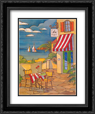 Cafe Cheri 2x Matted 20x24 Black Ornate Framed Art Print by Paul Brent
