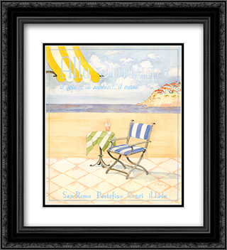 Alla Spiaggia 2x Matted 20x24 Black Ornate Framed Art Print by Paul Brent