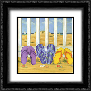 Flip Flop Beach II 2x Matted 16x16 Black Ornate Framed Art Print by Paul Brent