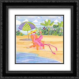 Beach Chair Flamingo 2x Matted 16x16 Black Ornate Framed Art Print by Paul Brent
