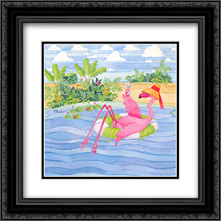 Martini Float Flamingo 2x Matted 16x16 Black Ornate Framed Art Print by Paul Brent