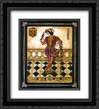 Harlequin Joker 2x Matted 20x24 Black Ornate Framed Art Print by Gregory Gorham