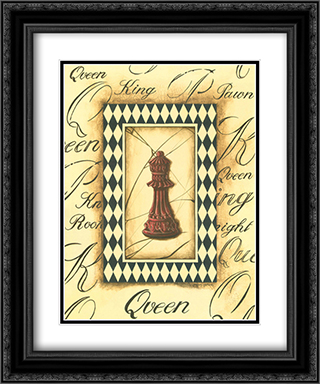 Chess Queen 2x Matted 20x24 Black Ornate Framed Art Print by Gregory Gorham