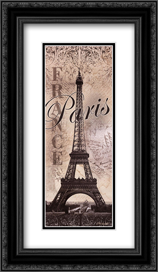 Eiffel Tower 2x Matted 12x24 Black Ornate Framed Art Print by Todd Williams