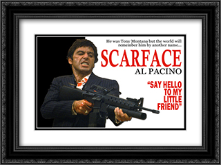Scarface - Say Hello to My Little Friend 24x18 Black Ornate Framed and Double Matted Art Print by Movie Poster