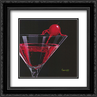 Cherry Cosmo 2x Matted 16x16 Black Ornate Framed Art Print by Michael Godard