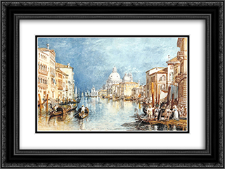The Grand Canal, Venice 2x Matted 24x18 Black Ornate Framed Art Print by J.M.W. Turner