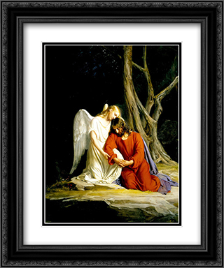 Agony in the Garden 2x Matted 20x24 Black Ornate Framed Art Print by Carl Bloch