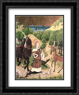 Conversion of St. Hubert 2x Matted 19x24 Black Ornate Framed Art Print by Master of Werden