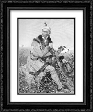 Daniel Boone, American Frontiersman 2x Matted 19x24 Black Ornate Framed Art Print by Alonzo Chappell