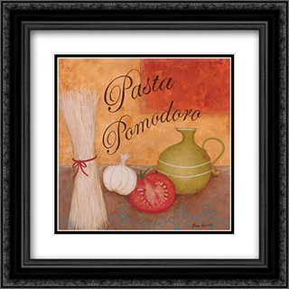 Pasta Pomodoro 2x Matted 16x16 Black Ornate Framed Art Print by Jane Carroll