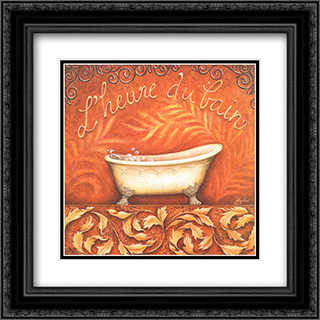 l'Heure du Bain 2x Matted 16x16 Black Ornate Framed Art Print by Daphne Brissonnet