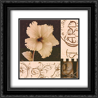 Hibiscus Blossom I 2x Matted 16x16 Black Ornate Framed Art Print by Katrina Craven