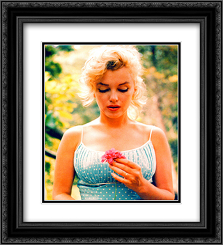 Marilyn Monroe with Flower 20x22 Black Ornate Framed and Double Matted Art Print by Movie Poster