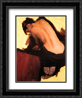Red Rug 2x Matted 20x24 Black Ornate Framed Art Print by Michael Austin
