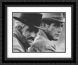 Robert Redford & Paul Newman 24x20 Black Ornate Framed and Double Matted Art Print by Movie Poster