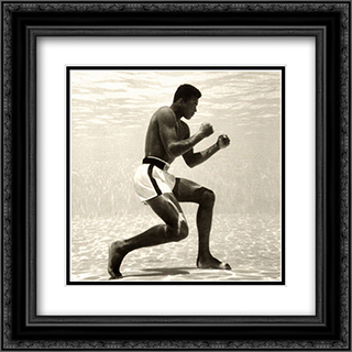 Muhammad Ali for Life Magazine (underwater) 2x Matted 20x20 Black Ornate Framed Art Print by Flip Schulke
