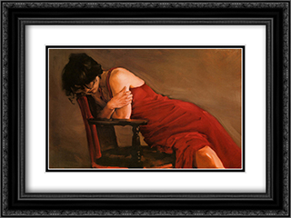 Red Dress 2x Matted 20x24 Black Ornate Framed Art Print by Michael Austin