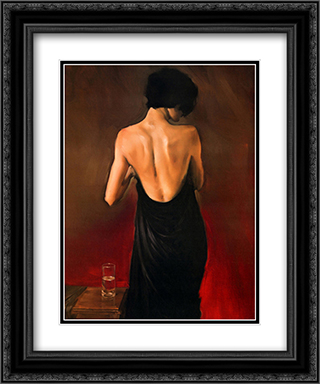 Black Drape 2x Matted 20x24 Black Ornate Framed Art Print by Michael Austin