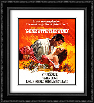 Gone with the Wind 20x22 Black Ornate Framed and Double Matted Art Print by Movie Poster