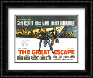 The Great Escape 24x20 Black Ornate Framed and Double Matted Art Print by Movie Poster