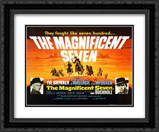 The Magnificent Seven 24x20 Black Ornate Framed and Double Matted Art Print by Movie Poster