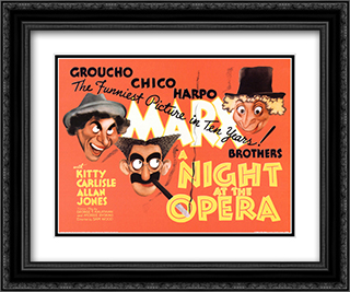 A Night at the Opera 24x20 Black Ornate Framed and Double Matted Art Print by Movie Poster