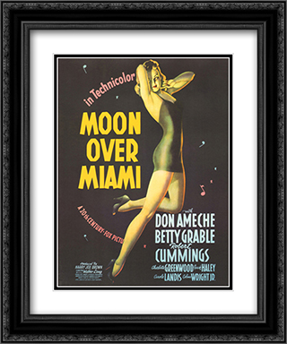 Moon over Miami 20x24 Black Ornate Framed and Double Matted Art Print by Movie Poster