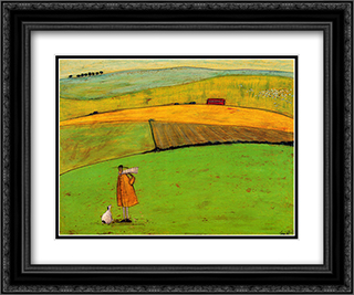 Doris Wants to Take the Bus 2x Matted 24x20 Black Ornate Framed Art Print by Sam Toft