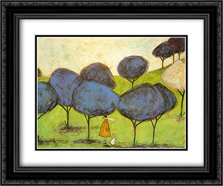 Sniffing the Lilac 2x Matted 24x20 Black Ornate Framed Art Print by Sam Toft