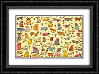 51 Cats 2x Matted 20x16 Black Ornate Framed Art Print by Sarah Battle
