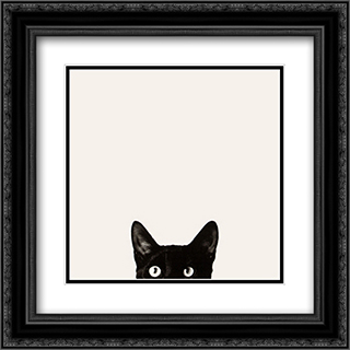 Cat Curiosity 2x Matted 22x24 Black Ornate Framed Art Print by Jon Bertelli