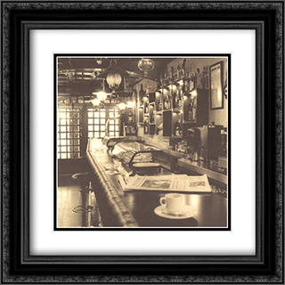 Caffe, Pamplona 2x Matted 20x24 Black Ornate Framed Art Print by Alan Blaustein