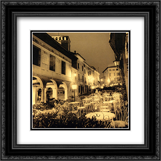 Caffe, Asolo, Veneto 2x Matted 20x24 Black Ornate Framed Art Print by Alan Blaustein