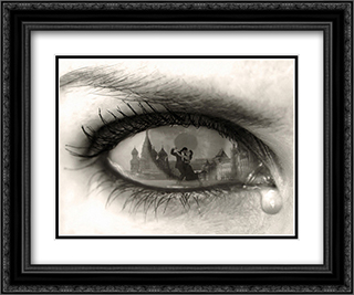 Tearful Encounter 2x Matted 24x20 Black Ornate Framed Art Print by Thomas Barbey