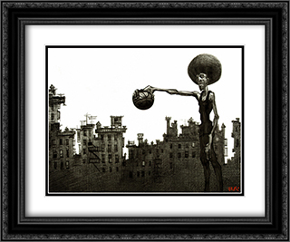 The Baller 2x Matted 24x20 Black Ornate Framed Art Print by Justin Bua