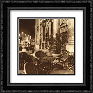 Cafe Avignon 2x Matted 17x18 Black Ornate Framed Art Print by Alan Blaustein